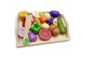 """Набор деревянных магнитных овощей на подносе """"Нарезка"""""""