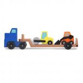 Деревянный грузовик со строительными машинами